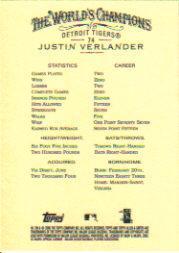 2006 Topps Allen and Ginter #74 Justin Verlander (RC) back image