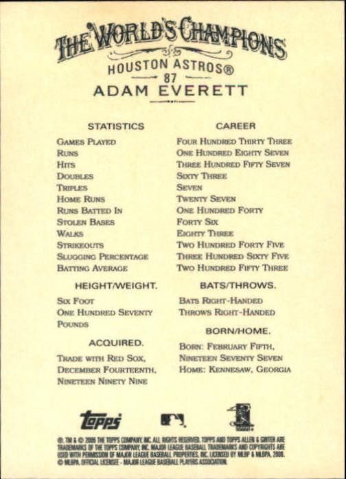 2006 Topps Allen and Ginter #87 Adam Everett back image
