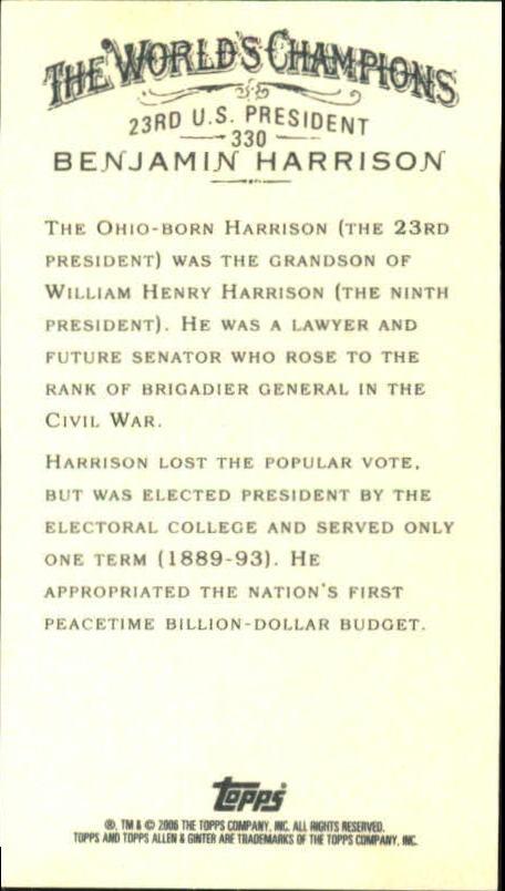 2006 Topps Allen and Ginter Mini #330 Benjamin Harrison back image