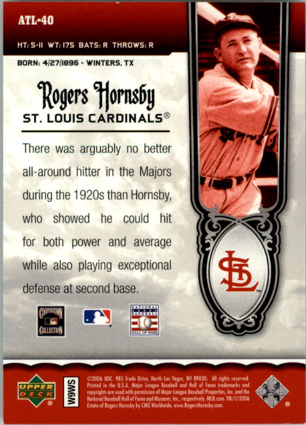 2006 Upper Deck All-Time Legends #AT40 Rogers Hornsby back image