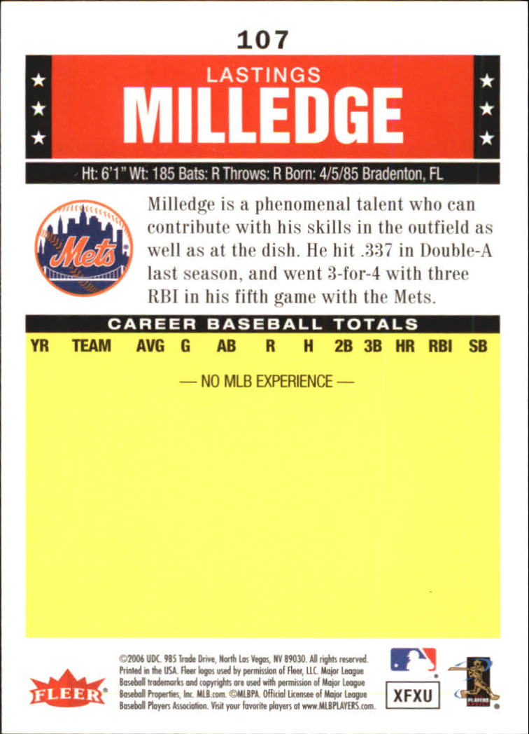 2006 Fleer Tradition #107 Lastings Milledge (RC) back image
