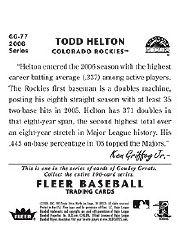 2006 Fleer Tradition 1934 Goudey Greats #GG77 Todd Helton back image