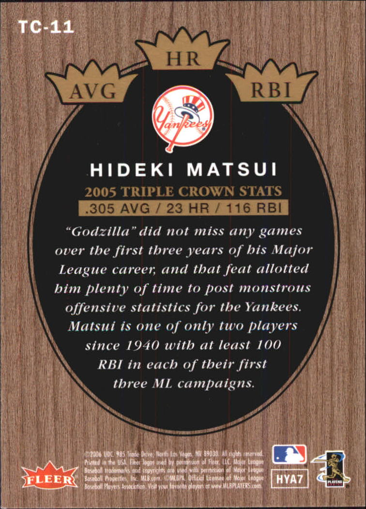 2006 Fleer Tradition Triple Crown Contenders #TC11 Hideki Matsui back image