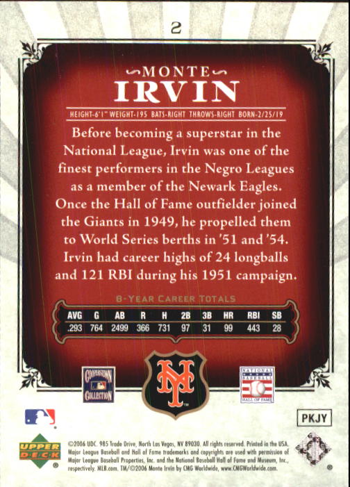 2006 SP Legendary Cuts #2 Monte Irvin back image