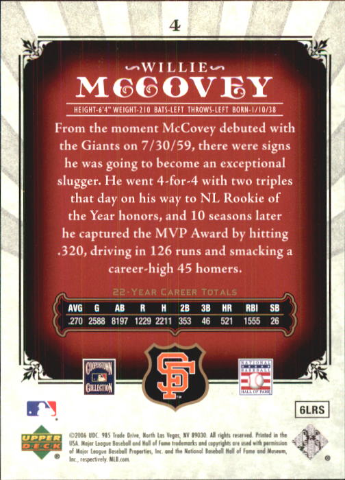 2006 SP Legendary Cuts #4 Willie McCovey back image