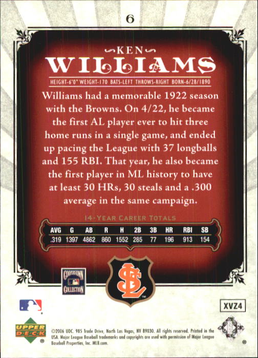 2006 SP Legendary Cuts #6 Ken Williams back image