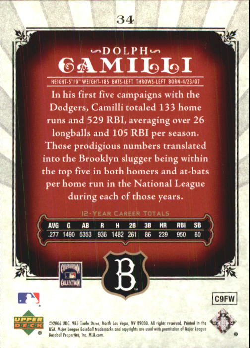 2006 SP Legendary Cuts #34 Dolph Camilli back image