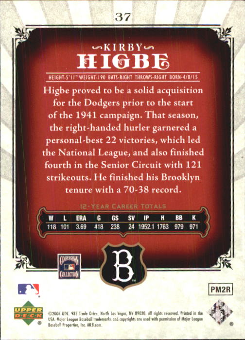 2006 SP Legendary Cuts #37 Kirby Higbe back image