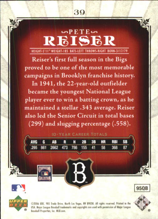 2006 SP Legendary Cuts #39 Pete Reiser back image