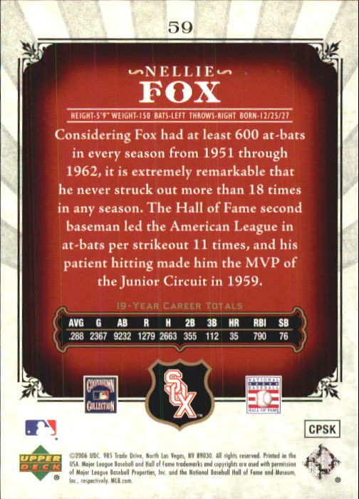 2006 SP Legendary Cuts #59 Nellie Fox back image