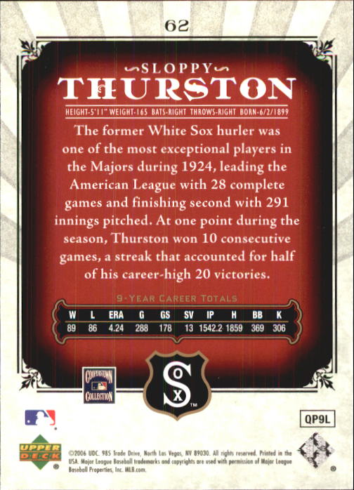 2006 SP Legendary Cuts #62 Sloppy Thurston back image