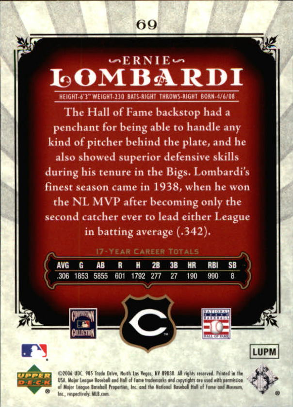 2006 SP Legendary Cuts #69 Ernie Lombardi back image