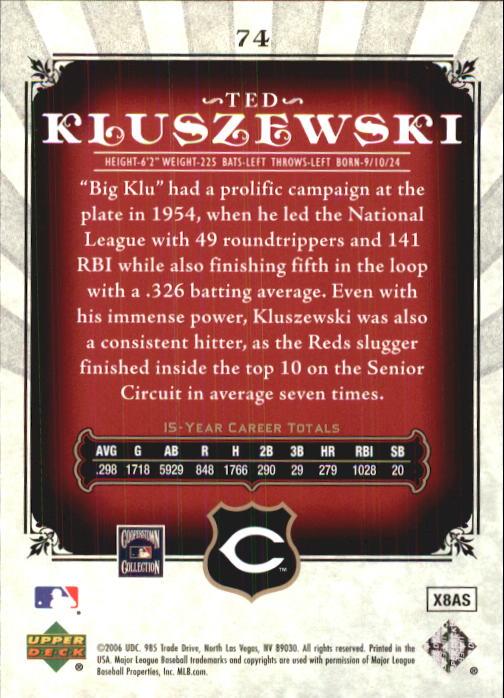 2006 SP Legendary Cuts #74 Ted Kluszewski back image