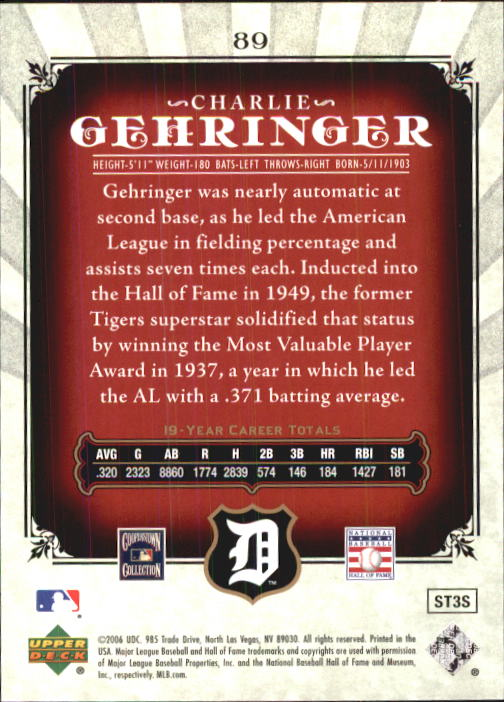 2006 SP Legendary Cuts #89 Charlie Gehringer back image