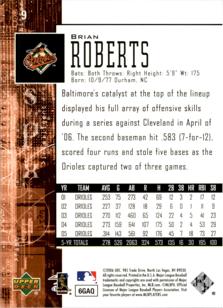 2006 SPx #9 Brian Roberts back image