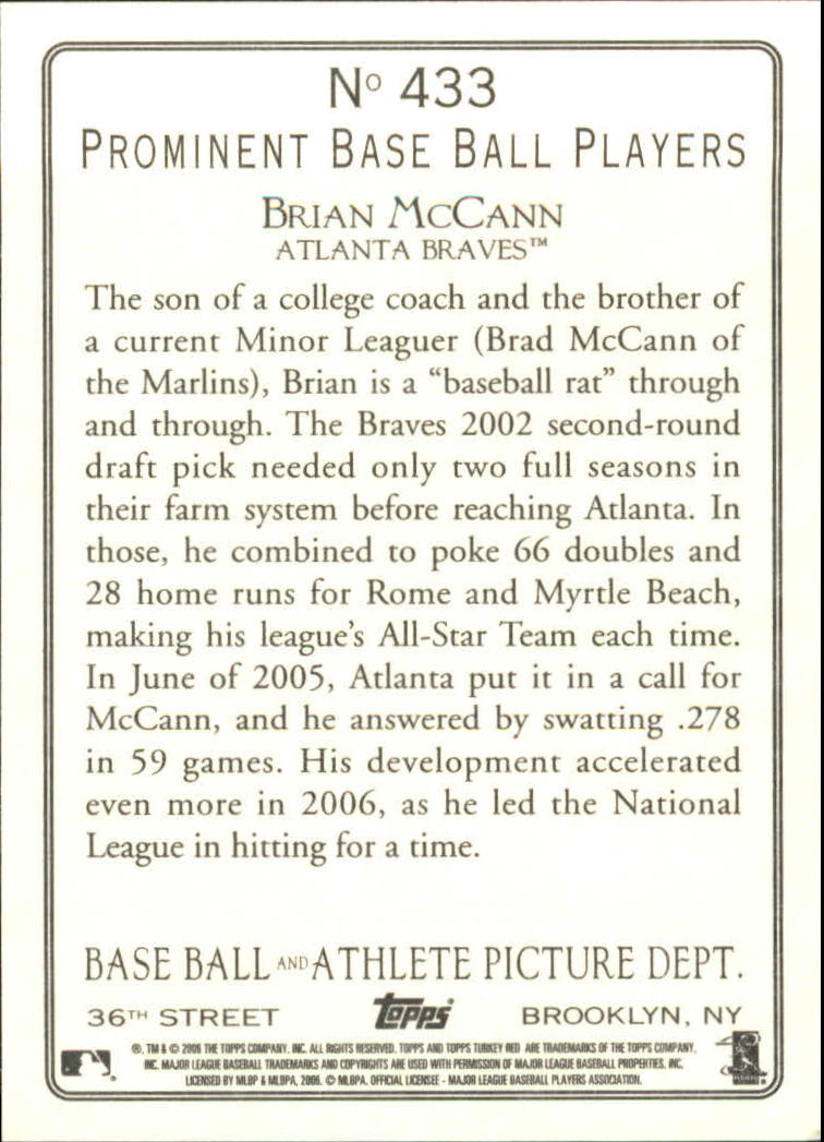 2006 Topps Turkey Red #433 Brian McCann back image