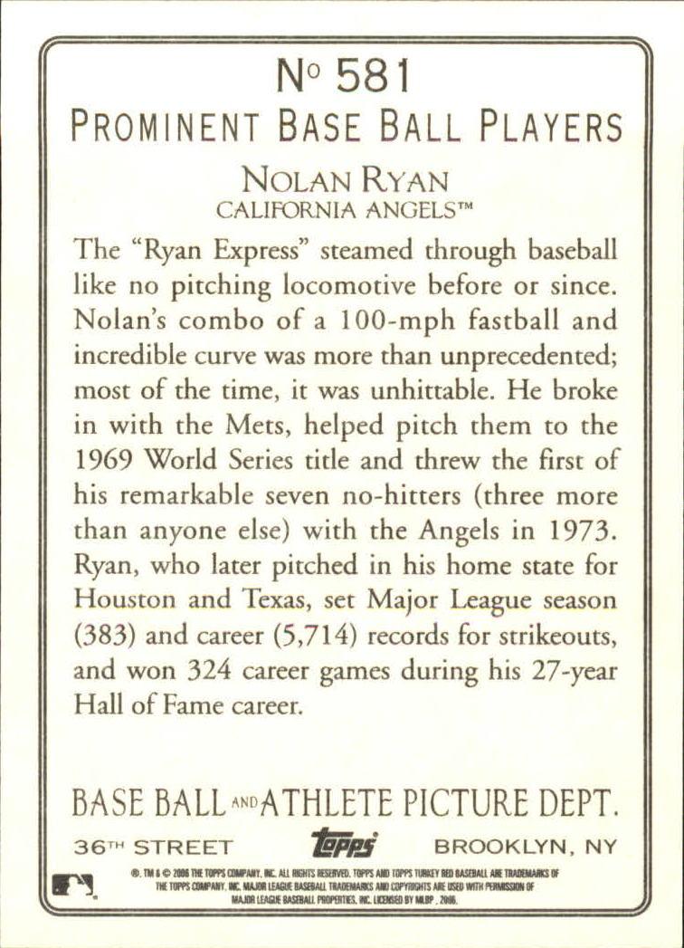 2006 Topps Turkey Red #581 Nolan Ryan RET back image