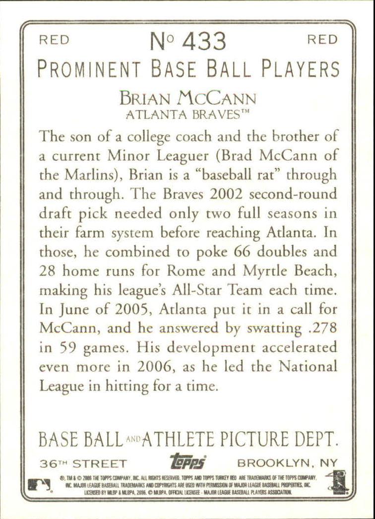 2006 Topps Turkey Red Red #433 Brian McCann back image