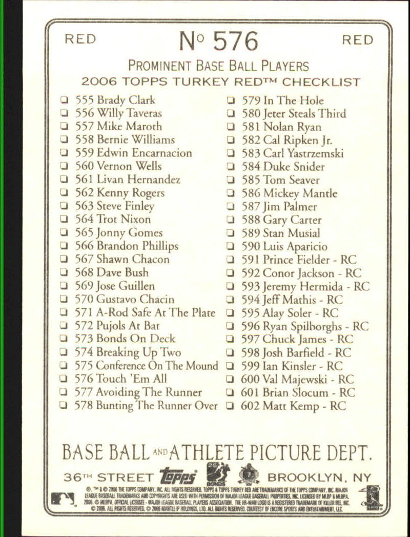 2006 Topps Turkey Red Red #576 Touch Em All CL back image