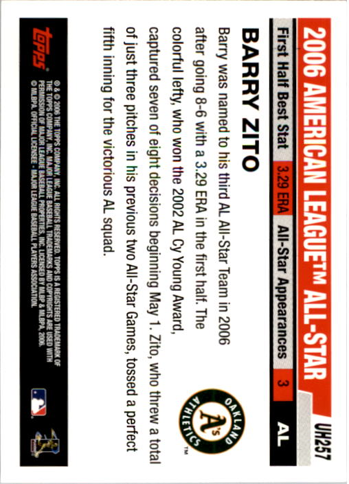 2006 Topps Update #257 Barry Zito AS back image