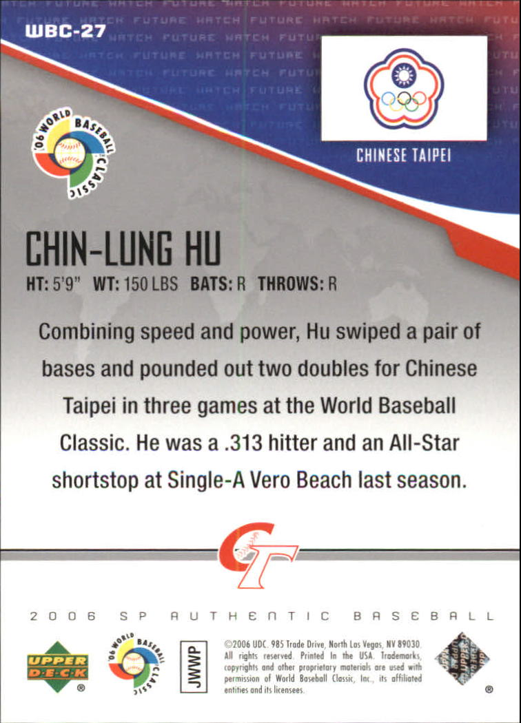 2006 SP Authentic WBC Future Watch #27 Chin-Lung Hu back image