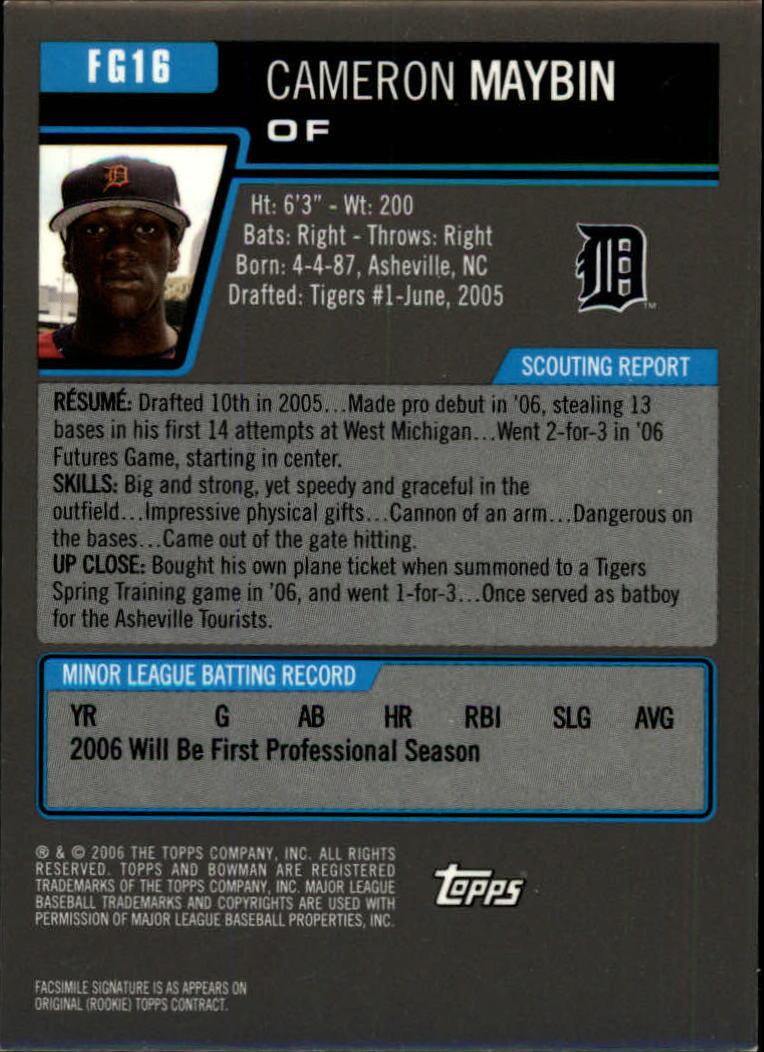 2006 Bowman Draft Future's Game Prospects Gold #16 Cameron Maybin back image