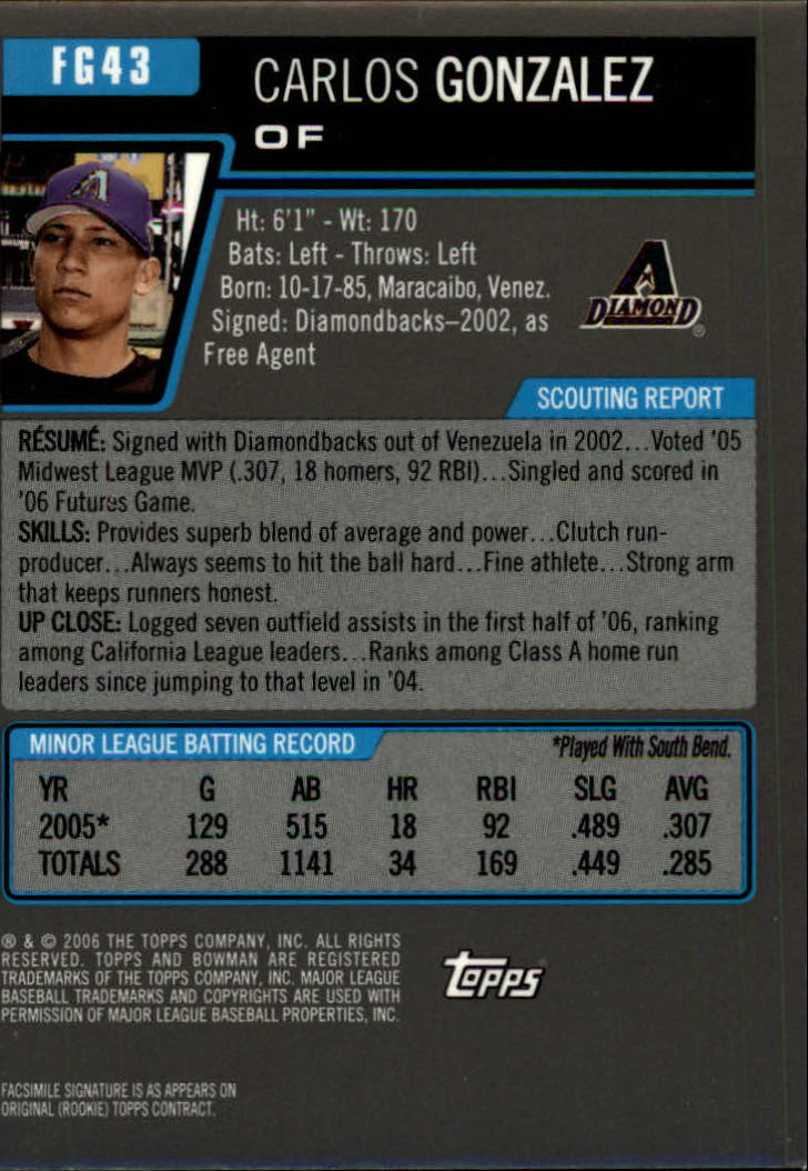 2006 Bowman Draft Future's Game Prospects Gold #43 Carlos Gonzalez back image