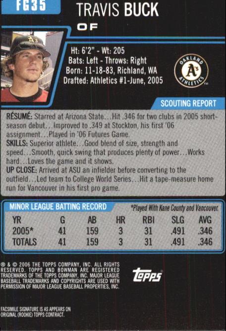 2006 Bowman Chrome Draft Future's Game Prospects #35 Travis Buck back image