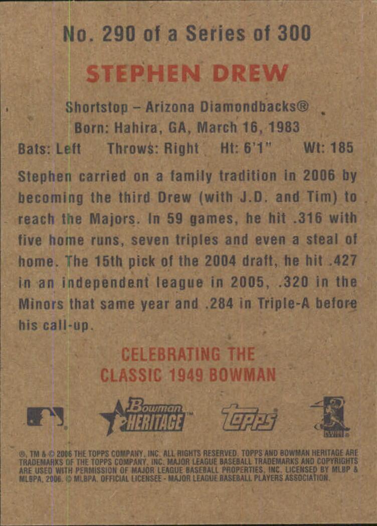 2006 Bowman Heritage #290 Stephen Drew SP (RC) back image