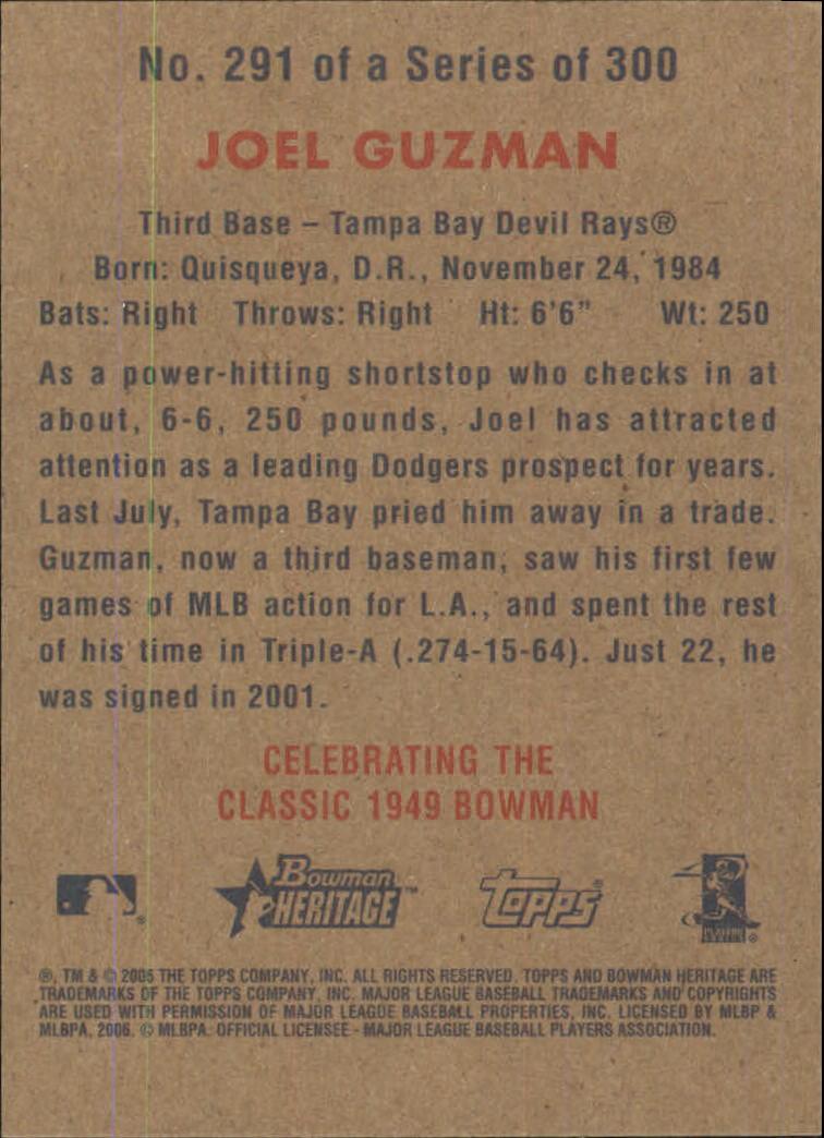 2006 Bowman Heritage #291 Joel Guzman (RC) back image