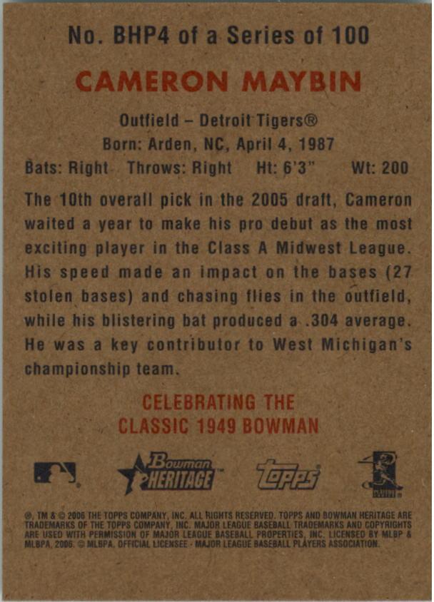 2006 Bowman Heritage Prospects #4 Cameron Maybin back image