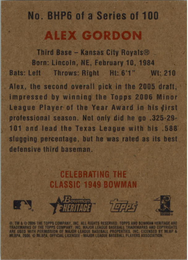 2006 Bowman Heritage Prospects #6 Alex Gordon back image