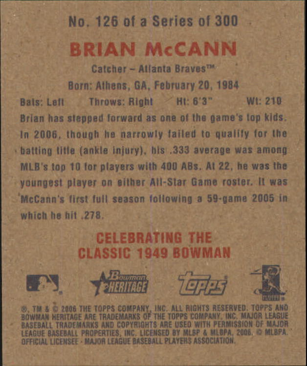2006 Bowman Heritage Mini #126 Brian McCann back image