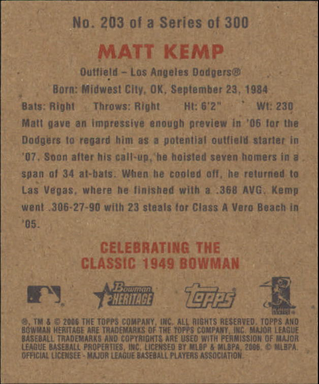 2006 Bowman Heritage Mini #203 Matt Kemp back image