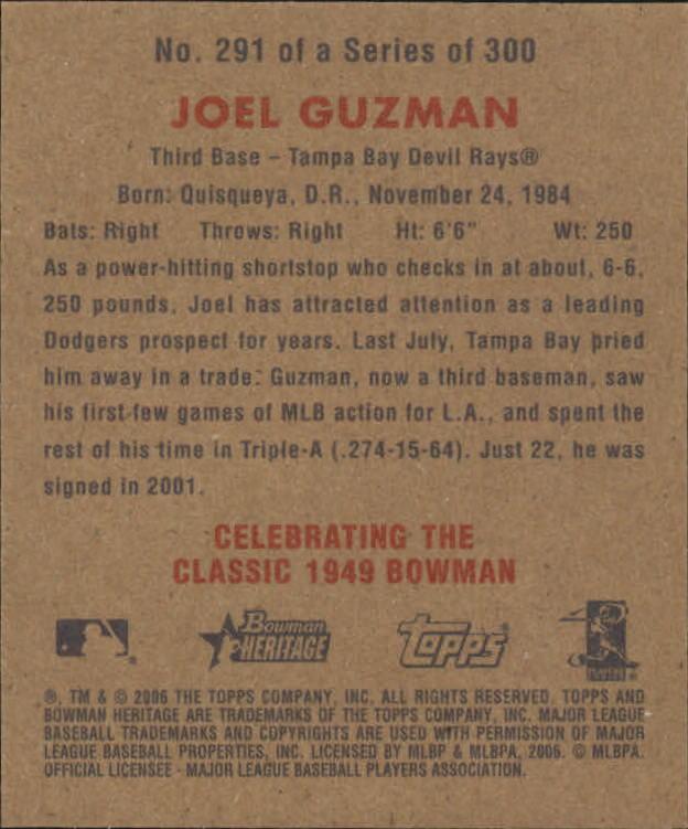 2006 Bowman Heritage Mini #291 Joel Guzman back image