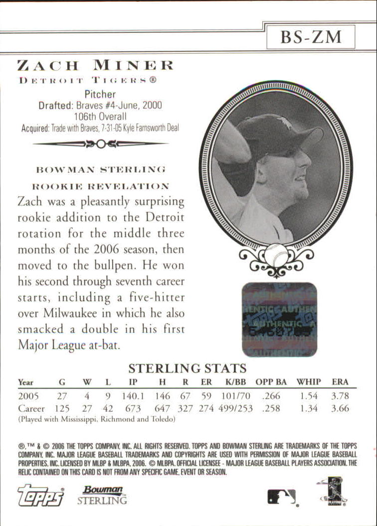 2006 Bowman Sterling #ZM Zach Miner AU (RC) back image
