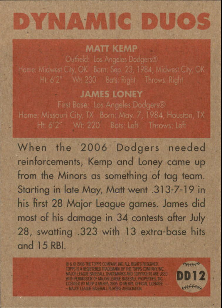 2006 Topps 52 Dynamic Duos #DD12 Matt Kemp/James Loney back image