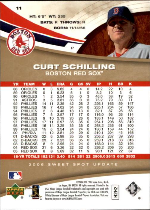 2006 Sweet Spot Update #11 Curt Schilling back image