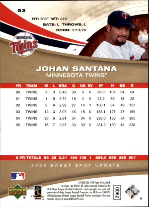 2006 Sweet Spot Update #53 Johan Santana back image