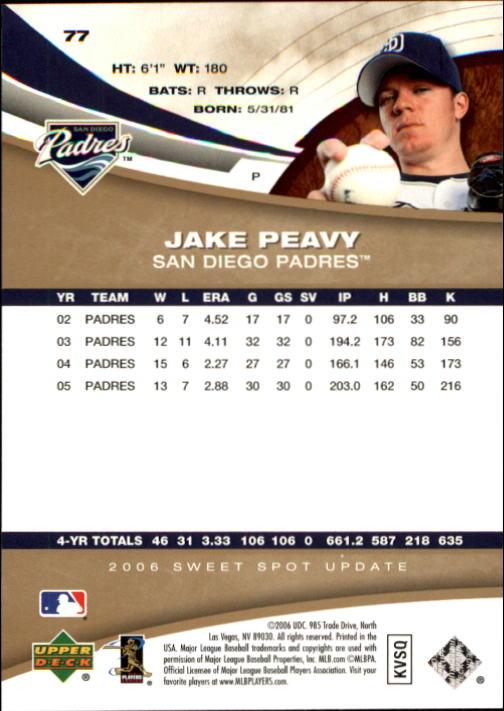 2006 Sweet Spot Update #77 Jake Peavy back image