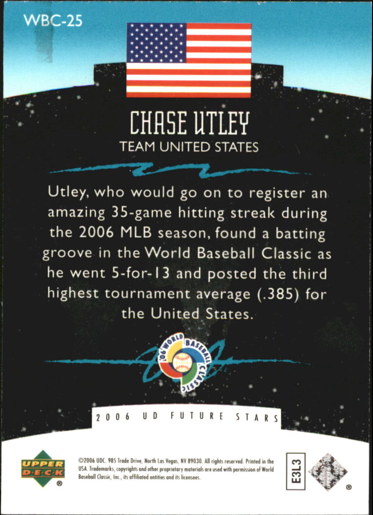 2006 Upper Deck Future Stars World Future Stars #25 Chase Utley back image