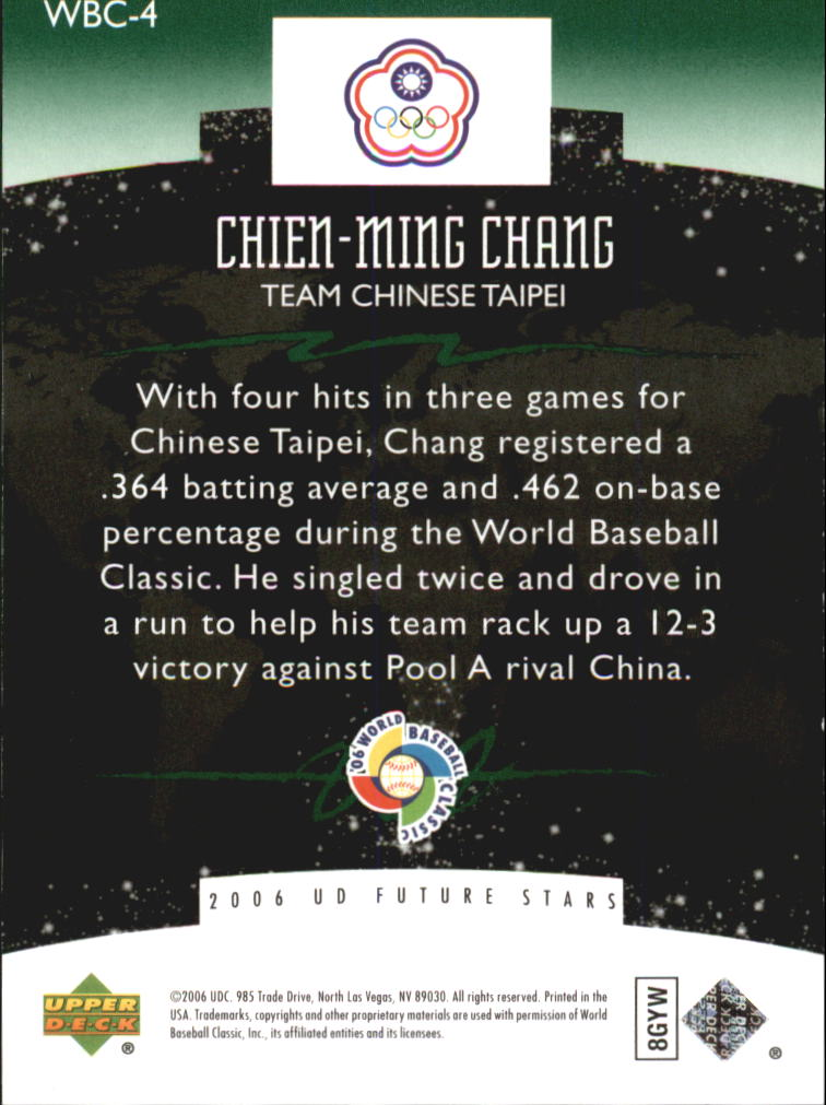 2006 Upper Deck Future Stars World Future Stars Green #4 Chien-Ming Chang back image