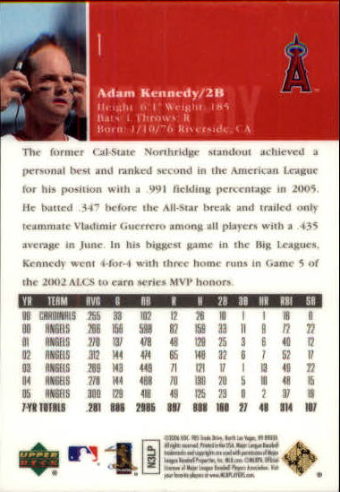 2006 Upper Deck Special F/X Green #1 Adam Kennedy back image
