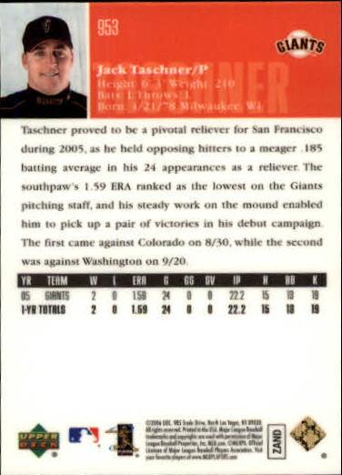 2006 Upper Deck Special F/X Green #953 Jack Taschner back image