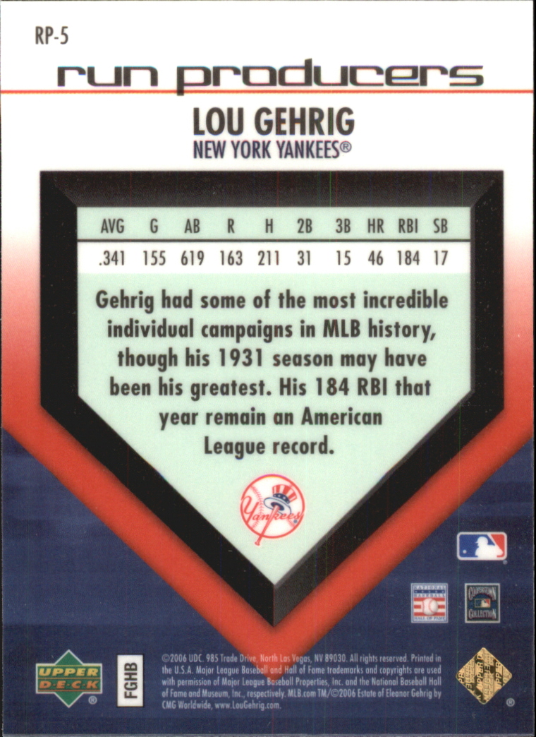 2006 Upper Deck Special F/X Run Producers #5 Lou Gehrig back image