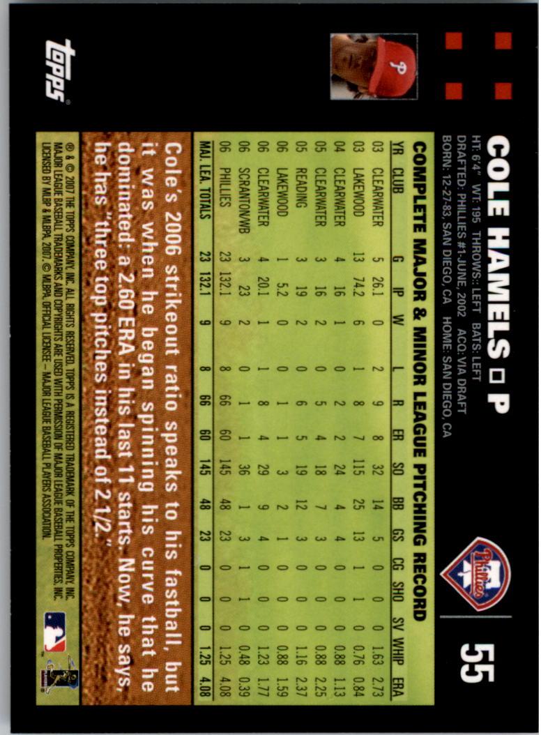 2007 Topps #55 Cole Hamels back image