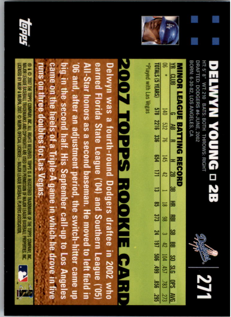 2007 Topps #271a Delwyn Young (RC) back image