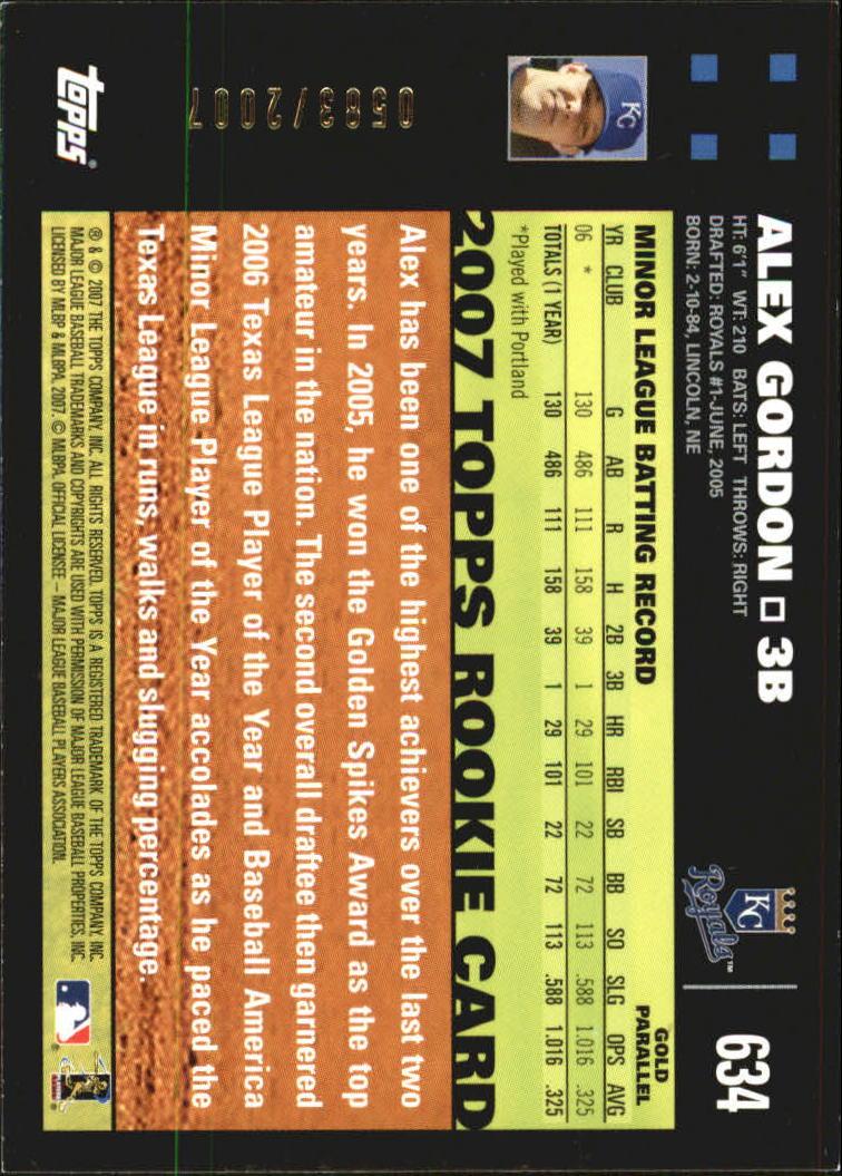 2007 Topps Gold #634 Alex Gordon back image