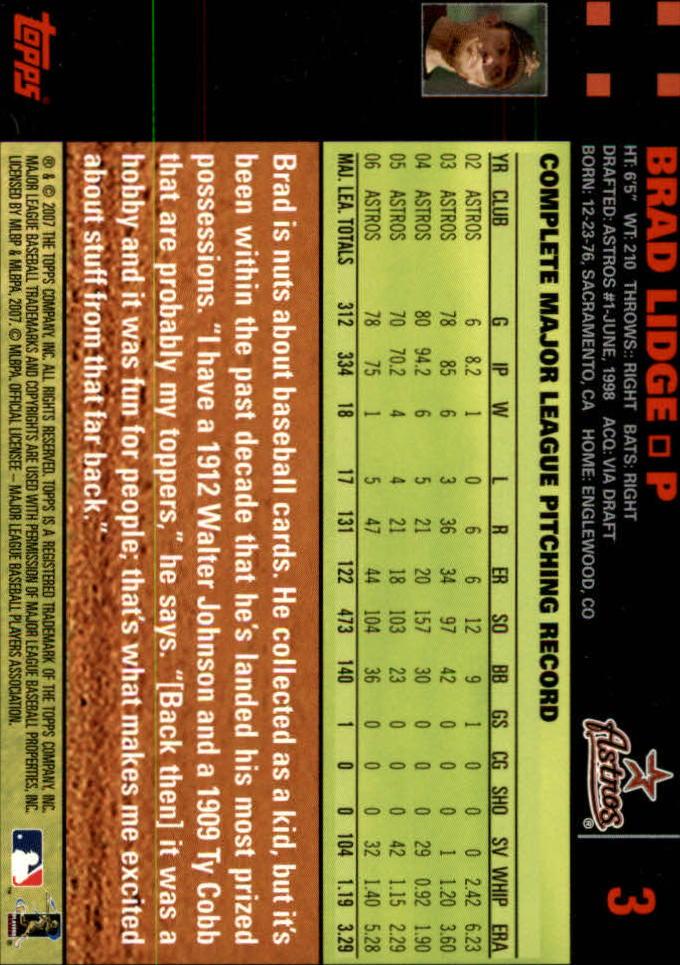 2007 Topps Red Back #3 Brad Lidge back image