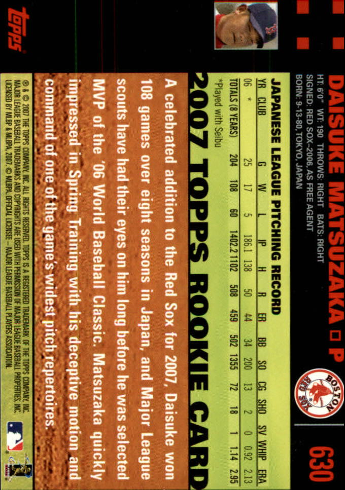 2007 Topps Red Back #630 Daisuke Matsuzaka back image